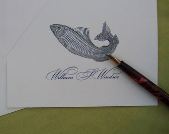 Fish Personalized, Monogrammed Fishing Note Cards Envelopes Victorian Pen Flourish Set 10 Ivory Gift Woodland Forest Cabin Outdoor Sports