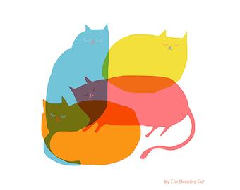 Cat Pile - Fine Art Print - Cat Art