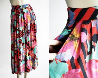Jacqueline Ferrar Vintage Colorful Abstract Polka Dot Funky Midi Rayon 90's Retro Skirt