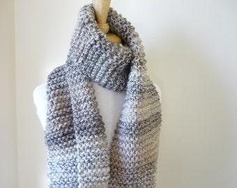 Long Scarf Chunky Knit Scarf Mens Scarf Womens Scarf Warm Winter Scarf Unisex Scarf Beige/Cream Tones 9 x 68 - Ready to Ship