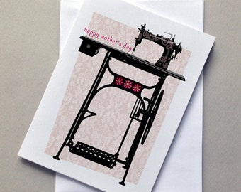 Vintage Sewing Machine, Mother's Day Card,Mom, For Mom, Sale