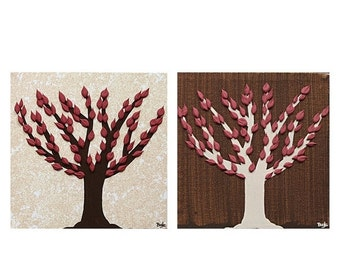 ON SALE Small Paintings of Autumn Trees -  Canvas Art Set of Two Textured Paintings - Brown and Red - Mini 13x6