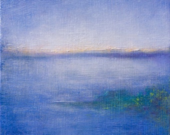 Small Blue Abstracted Coastal Landscape - Free Shipping