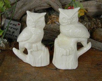 Owl on tree stump  Bride and Groom  Ceramic Wedding Cake Topper   Bird Lovers  Wildlife personalized cake toppers