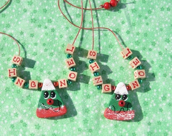 Christmas Jewelry Christmas Candy Corn Necklace Sing Noel Necklace Wood Christmas Necklace Holidays Jewelry 10 Dollar Gift Stocking Stuffer