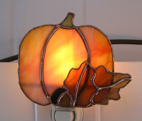 Pumpkin Stained Glass Night Light With Oak Leaf And Acorn