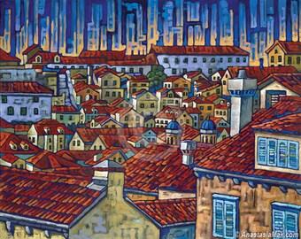 Dubrovnik, Croatia, Dubrovnik wall, Dubrovnik Roofs, 8x10 Art Print by Anastasia Mak