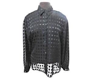 Vintage 90s Sheer Black Blouse Geometric Squares Checkers Rave Top M Medium
