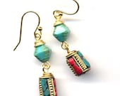 Nepal Earrings. Turquoise and Coral Earrings. LAST PAIR Nepal Beads on 18K Gold Filled Wire, Ethnic Earrings, Nepal Jewelry by AnnaArt72
