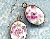 Blossom Cherry Ceramic Earrings On Sterling Silver Ear Wire   Cherry Brunch 925 Earrings I Porcelain Earrings, Porcelain Jewelry by AnnaArt