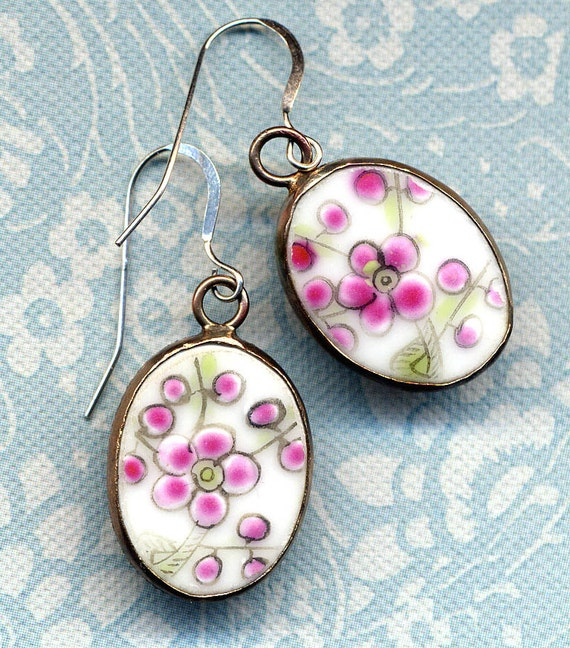 RESERVED Blossom Cherry Ceramic Earrings On Sterling Silver| Cherry Brunch 925 Earrings I Porcelain Earrings, Porcelain Jewelry by AnnaArt
