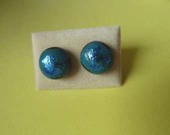 Dichroic Glass Stud Earrings Surgical Steel Hypoallergenic Blue Duck Handmade Hand Painted