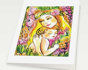 Mother and child illustration, garden, flowers, fairy art, mother with baby, mothers love, mother woman card, woman card, 6x8