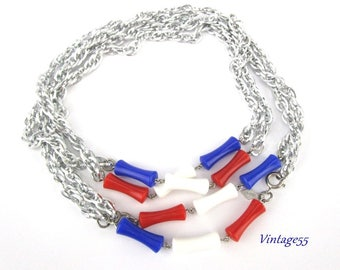 Necklace Patriotic Red white Blue Sarah Coventry