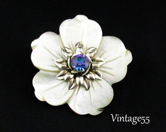 Brooch Mop Blue Rhinestone Carved Flower