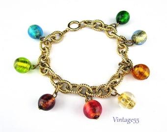 Beaded Bracelet Foil Glass Gold tone Vintage