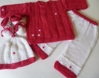 Knitted Baby Clothing.   Newborn  Girl Set, Baby  Outfit, Girl Ensemble, GIFT Matching Headband