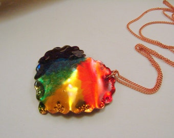 Rainbow Chakra Heart, Rainbow Pride Heart Pendant Necklace