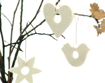 Nordic Christmas tree ornaments - 3 modern Christmas heirloom ornaments - Bird ornament - Heart ornament - Christmas Star Ornament