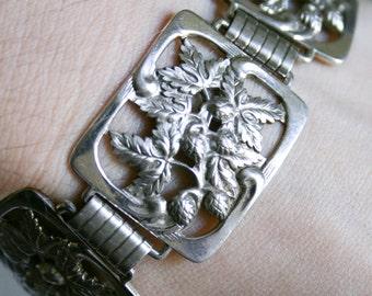 Sterling Silver Strawberry Art Nouveau Link Bracelet
