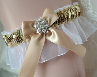 White/gold Prom Garter - Gold/White Garter-Dance Prom Garter-Garter Belt-Garter-Prom garter