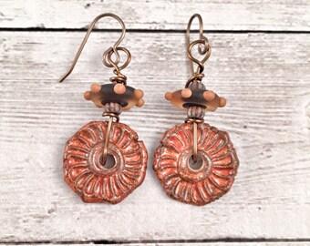 Handmade Earrings Ceramic and Glass Handmade Beads Gift Ideas for Her