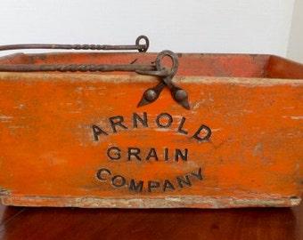 Painted Orange Arnold Grain Co. Box Wood Box Iron Handle