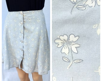 Vintage Pale Blue Mini Skirt. Express. Floral. Small White Flowers. Rayon Skirt. Short Skirt. Size 3. Small. 1990s. Under 15 Skirts.