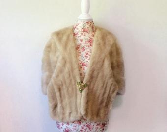 Vintage 1960's mink cape // rare blonde fur coat // 60's wrap stole capelet