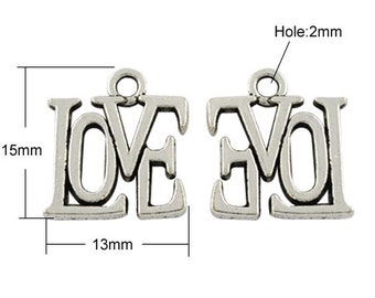 LOVE Charm - Antique Silver - Set of 12 - #MH213