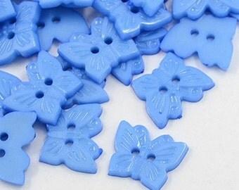 Butterfly Buttons - Set of 50 - Light Blue - #BUTTON341
