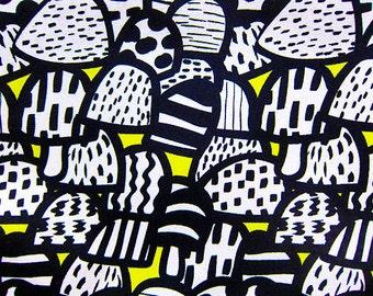 Cotton Fabric By The Yard - Retro Mushrooms on Yellow - Half Yard