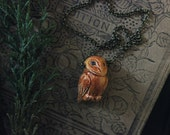The Little Owl Necklace. Woodland Rustic Spirit Animal Ceramic Owl and Antiqued Brass Necklace.