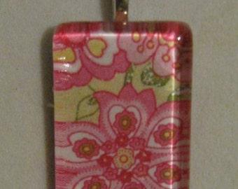 Vera Bradley Style Glass Pendant - Petal Pink - New