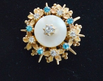 On Sale Cute Vintage Blue Rhinestone Brooch, Gold tone, Mother of Pearl