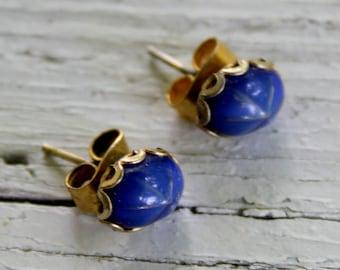 Star Sapphire Blue Stud Earrings