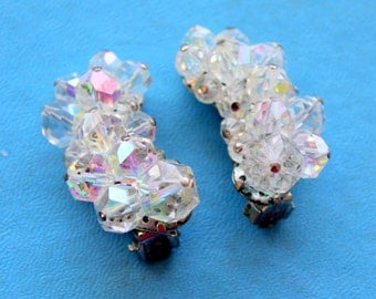 Vintage 1950s Earrings Clip Aurora Borealis Glass Beaded Clear Statement