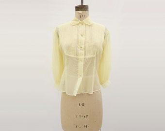 Sheer Nylon Blouse 50s Vintage Blouse Vintage Yellow Top 1950s Sheer Blouse 50s Yellow Blouse Jeweled Button m / l