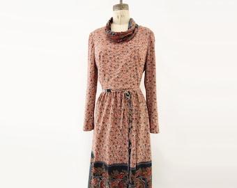 1970s Maxi Dress Vintage Floral Maxi 70s Boho Dress 1970s Floral Dress 70s Floral Fall Dress Red Floral Dress Pink Floral Dress m