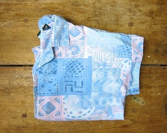 Geometric Print Crop Top 80s Blue Cotton Boho Shirt Button Up TShirt Cap Sleeve Blouse Pink Hipster Hipster Tee Vintage Medium