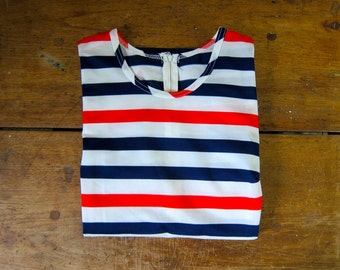 Striped 70s Tshirt Red White Blue July 4th Top Short Sleeves Retro Shirt Patriotic Tee Tshirt 80s Womens Mod Nautical Shirt Medium Large