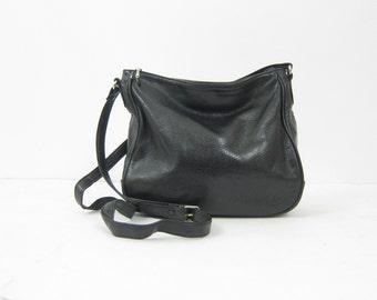 Black Leather Purse One Long Strap Crossbody Shoulder Bag Basic 90s Across Body Bag Vintage Hipster Medium Sized Purse