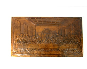 vintage Last Supper Copper Wall Plaque folk art Jesus Religious Art Wall Hanging Embossed 3D