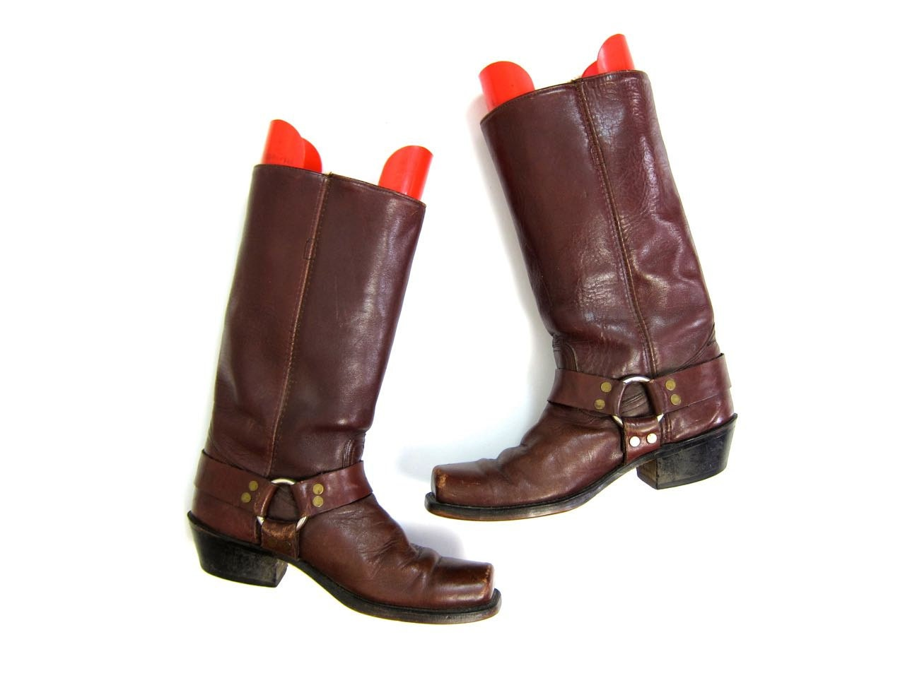 70s leather frye harness boots mens rustic leather
