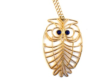 Vintage Boho Owl Statement Necklace ~Brass with Blue eyes & Long Gold tone chain