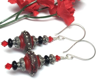 Red Earrings Black Earrings Baroque Earrings Elegant Earrings Lampwork Earrings Artisan Earrings Beaded Earrings Glass Earrings