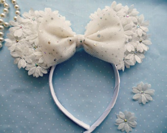 Floral Minnie Mouse Ears Ivory Minnie Ears Bride To Be Bridal Shower Disney Theme Hen Night