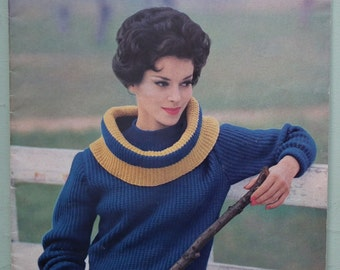 Vogue Knit No 163 Thick Knits 1961 Vintage 1950s 1960s Vogue Knitting Patterns Booklet UK Magazine original patterns Women's Winter sweaters