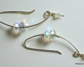 Meissa-handmade, curved sterling silver wire and Swarovski crystal celestial earrings