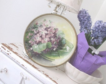 Vintage Advertising * Wall Hanging * Antique * Violets * Shabby Cottage Farmhouse